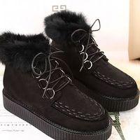 2014 NEW JAPAN Harajuku  platform winter shoes women martin ankle boots lace up feather round toe shoe Z39 hot sale szie 4 9