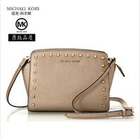 Real leather shoulder messenger handbag for woman 2014 new rivet shoulder bags woman's casual bag