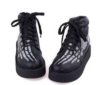 2014 new fashion Harajuku platform mid heels soft leather martin shoes black skull flat heel winter warm lace up ankle boots Z49