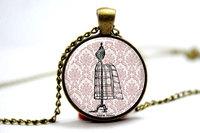 10pcs/lot Dressform Necklace, Romantic Victorian Vintage Style Jewelry Glass Photo Cabochon Necklace