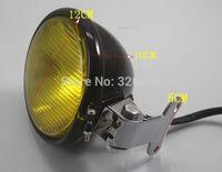 Motorcycle Yellow Tint Glass Lens  Head Light for Bobber Chopper Sportster Custom  black