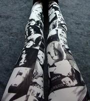 Women Milk Silk Beauty Head Print  Leggings Skinny Pencil Pants  9033