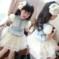 2014 new girls denim boutique veil lace chiffon dress princess skirt Korean version of children TQZA04