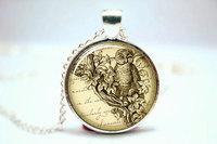 10pcs/lot Steampunk Necklace, Vintage Style Art Jewelry, Silver Plate Glass Photo Cabochon Necklace