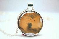 10pcs/lot Mars Necklace, Planet Pendant, Universe Jewelry Glass Photo Cabochon Necklace