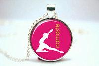 10pcs/lot Namaste Necklace, Zen Yoga Jewelry, Glass Art Pendant Glass Photo Cabochon Necklace