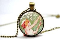 10pcs Absinthe Robette by Henri Privat Livemont, Absinthe Necklace, Green Fairy Glass Cabochon Necklace
