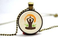 10pcs/lot Yoga Necklace, Lotus Position Zen Jewelry Glass Photo Cabochon Necklace