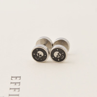 2014 new fashion men stud earrings titanium steel jewelry hiphop and rock style free shipping cool men earringsL0018