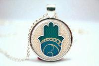 10pcs/lot Hamsa Hand Necklace, Protection Pendant, Good Fortune Charm Glass Photo Cabochon Necklace