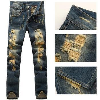 Сзт италии мужская мода впп проблемные уничтожено омывается джинсы Size28-38 ( #605 )