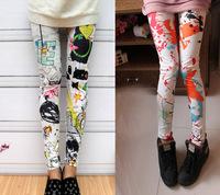 Women Milk Silk Graffiti  Print  Leggings Skinny Pencil Pants  9032