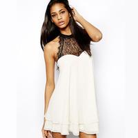 2014 NEW ARRIVAL HOT SALE!!Drop Shipping! Women Summer Chiffon Neck Eyelash Lace Bow Back Patchwork Sleeveless Dress