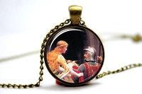 10pcs God Speed Necklace, Artwork By Artist Edmund Leighton Glass Cabochon Necklace
