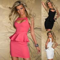 New Arrive 2014 Fashion Women Sexy Hollow Out Chest Peplum Casual Dress Elegant OL Work Dress 3 Colos M L XL Plus Size Dress
