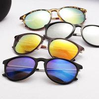 Color film reflective sun glasses vintage circle box sunglasses frogloks