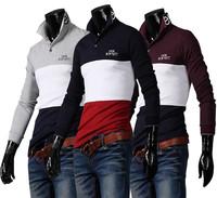 Winter Autumn New Arrival fashion Economic Hit Color  slim men long-sleeve polo shirt,Cotton men Tops&Tees,3 colors M L XL XXL