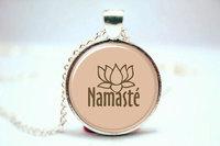 10pcs Yoga Jewelry, Namaste Om Neckalce, Zen Pendant Jewelry Glass Cabochon Necklace