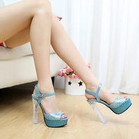 Open toe sandals high heels rhinestone female thick heel all-match brief elegant diamond single shoes