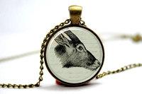 10pcs Antelope Necklace Necklace, Jewelry Glass Cabochon Necklace