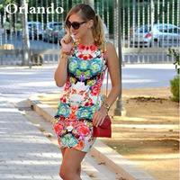 2014 new European and American style fashion star models waist was thin tight sleeveless retro flower dress wholesale