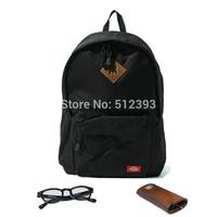 Black vintage basic sports backpack school bag solid color canvas