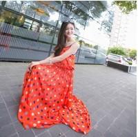 Free shipping, 2014 summer new fashion women clothes big wave point harness bohemian long dress