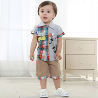 Free shipping 2014 summer baby boy casual set clothes 0-1-2 years old infant clothing sets