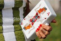 Famous Brand Designer Printing Poker Women Evening Clutch Bags Gold Chain Shoulder Handbags Mini Bolsas Femininas
