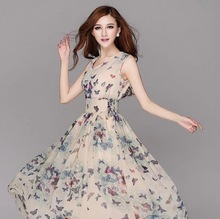2014 summer new chiffon dress dresses summer wear  high-end brand temperament of women's clothing(China (Mainland))