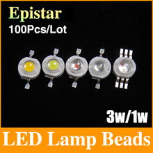 100pcs/lot Epistar 3w/1w led beads chips bulb diode lamp warm/cold/natural white/white/red/yellow/blue/green/RGB/UV WLS01(China (Mainland))
