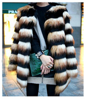 SUPER QUALITY 2014 New Fashion Women's Hairy Shaggy Faux Fox Fur Round Neck Contrast Color Striped Jackets Long Coat Outerwear