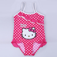 Retail 2014 lovely kitty children girl's swimwear piece kid swimsuit baby girl swimwear size 2T 3T 4T 5T Free Shipping
