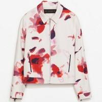 Fashion Women zara2014 Blazer Red Abstract Floral Print Turn-Down Collar Casual Jackets Fashion Ladies' Outerwear Coat
