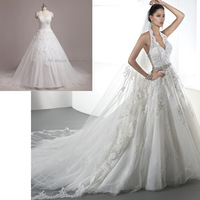 2014 Free Shipping Custom Make High Quality Ball Gown Lace Appliqued Halter Real Photo Wedding Dresses