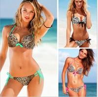 Free shipping 2014 fashion new style Women Swimwear sex lepord print bikini set  push up twith top and bottom S M L