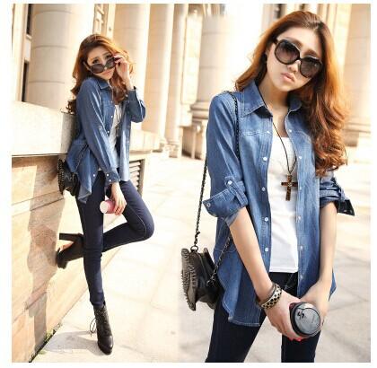 2014new Autumn Spring Women Fashion Demin Shirt Blue Jeans