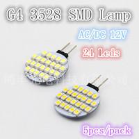 Free shipping, G4 base 2.4W bright LED lamp 24pcs 3528smd,AC/DC 12V  quality assurance 5pcs/lot