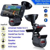 Multi-functional Universal Phone Holder 6-in-1: HandsFree Car Kit, FM Transmitter, Speaker, Amplifier