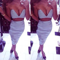 Free Shipping women Deep V Black and white stripes tops and bottom 2 two pcs set 2014 summer wholesuit clothing set