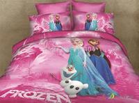 New 3D cartoon frozen duvet cover,Princess Elsa & Anna Olaf Frozen duvet/quilt cover Queen 4pcs Sister Love Linen frozen bedding