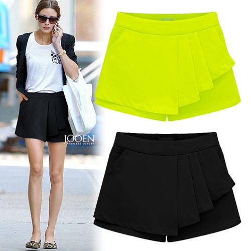 skirts shorts new 2014 summer fashion women irregular ruffle skirt short fake 2 pieces casual short chiffon black neon SK2077(China (Mainland))