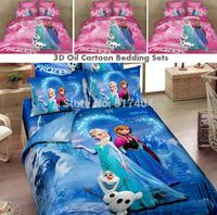 New 3D cartoon frozen bedding,Princess Elsa & Anna Olaf Frozen duvet/quilt cover Queen 4pcs Sister Love Linen frozen bedding