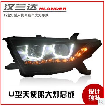High Quality! 2012 TOYOTA Highlander LED headlights, bifocal lens headlamps! Angel Eyes Xenon Headlight assembly!(China (Mainland))