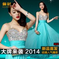 2014 New Fashion Women's dress , Fashion Deep V Diamond Sexy Slim Evening Dress Free shipping