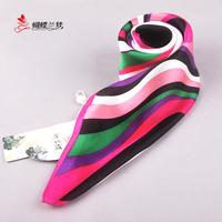 Small silk scarf 100 mulberry silk small facecloth stripe silk scarf