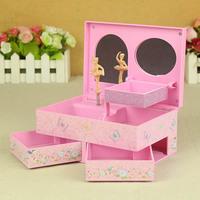 Double drawer music jewelry box three-dimensional ballet music box rotating ballerina girls music box sweet birthday gifts