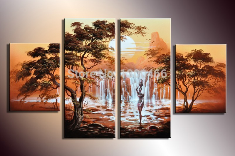 Hand Painted 4 Piece Wall Art Canvas Paintings Home Decor Oil Painting For