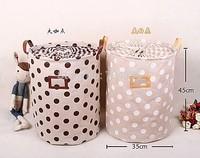ZAKKA Cotton Polka Dot Stripes waterproof foldable storage box beam port storage barrels household laundry storage basket