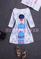 2014 hot new print lady women dresss half sleeve casual loose dress o neck   straight  mini silk  WA